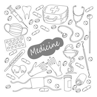 Hand gezeichneter medizinikonsatz. medizinisch skizzierte sammlung. gesundheitswesen, apotheke doodle icons.
