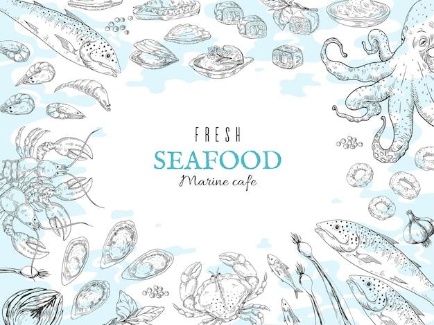 Hand gezeichneter meeresfrüchtehintergrund. ozean frische lebensmittel skizze illustration