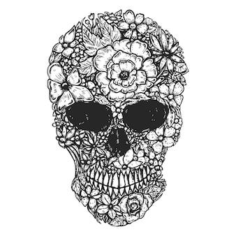 Hand gezeichneter menschlicher schädel hergestellt aus blumen. schädel der botanik.