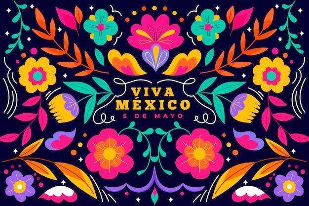 Hand gezeichneter mexikanischer hintergrund des cinco de mayo