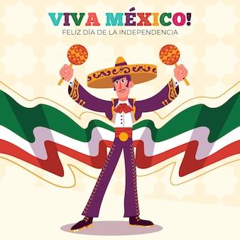 Hand gezeichneter mexikanischer unabhängigkeitstag