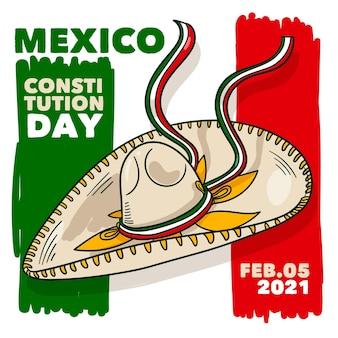 Hand gezeichneter mexikanischer verfassungstag