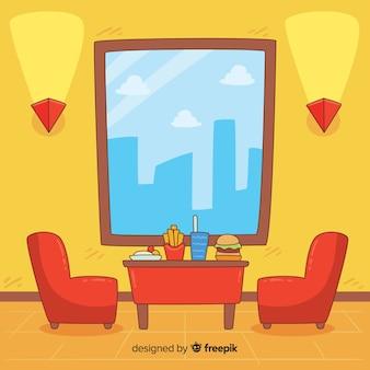Hand gezeichneter moderner restaurantinnenraum