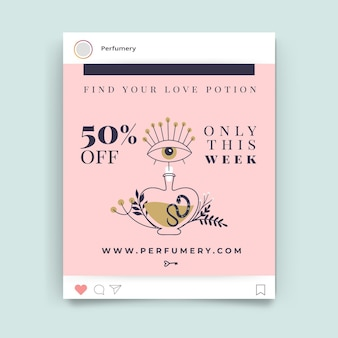 Hand gezeichneter moderner valentinstag instagram post