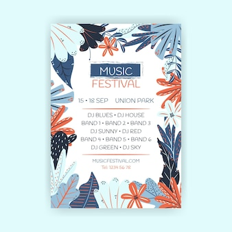 Hand gezeichneter musikfestival-flyer
