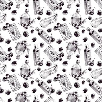 Hand gezeichneter nahtloser muster olivenölvektor