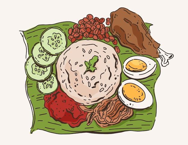 Hand gezeichneter nasi lemak illustriert
