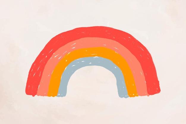 Hand gezeichneter netter aufkleber des regenbogenelementvektors