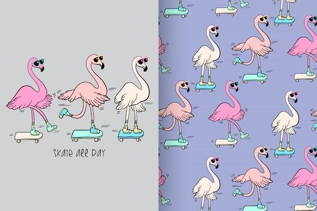 Hand gezeichneter netter flamingo mit mustervektorsatz