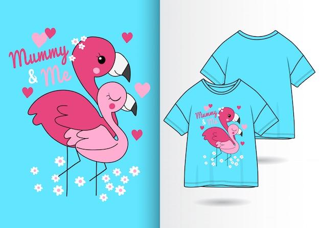 Hand gezeichneter netter flamingo mit t-shirt