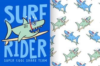 Hand gezeichneter netter Haifisch mit Mustersatz