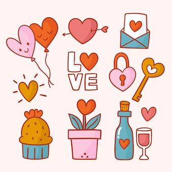 Hand gezeichneter netter valentinstagelementsatz