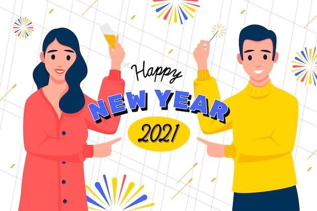 Hand gezeichneter neujahrshintergrund 2021