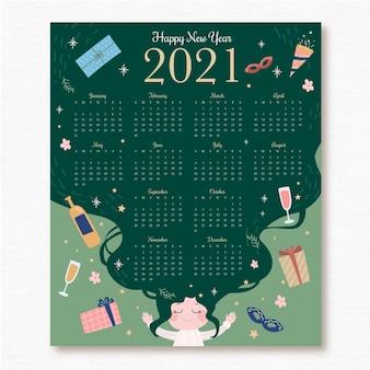 Hand gezeichneter neujahrskalender 2021 mit geschenken und partyhut