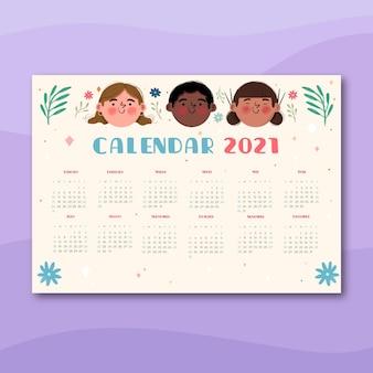 Hand gezeichneter neujahrskalender 2021
