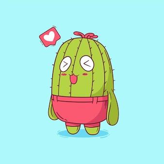 Hand gezeichneter niedlicher kleiner kaktus