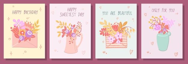 Hand gezeichneter niedlicher satz grußkarten. umschlag, krug und vase mit frühlingsblumenstrauß.