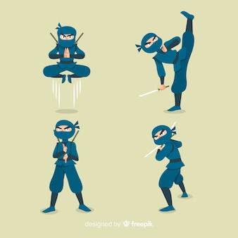 Hand gezeichneter ninja-charakter in den verschiedenen haltungen
