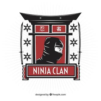Hand gezeichneter ninja-charakterhintergrund
