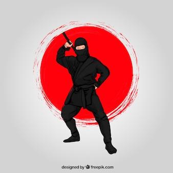 Hand gezeichneter ninja-kriegershintergrund