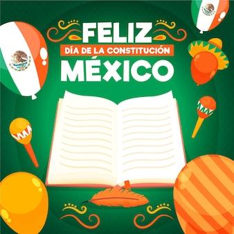 Hand gezeichneter notizbuch mexiko verfassungstag