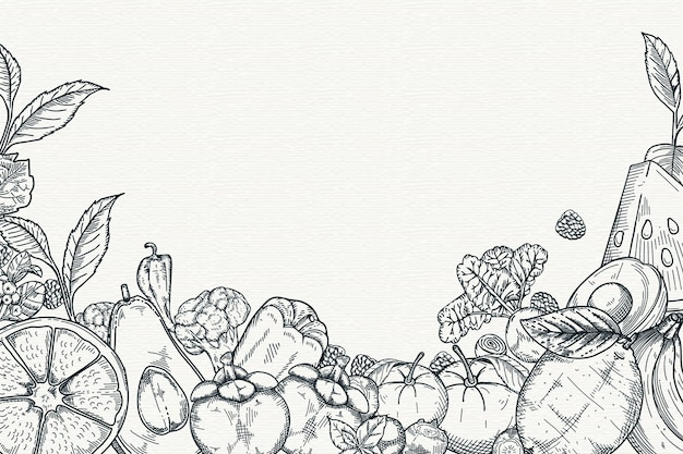 Hand gezeichneter obst- und gemüsehintergrund