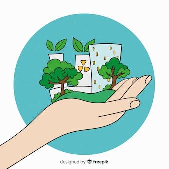 Hand gezeichneter ökologiekonzepthintergrund