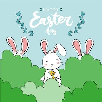 Hand gezeichneter ostertag mit kaninchen in den büschen