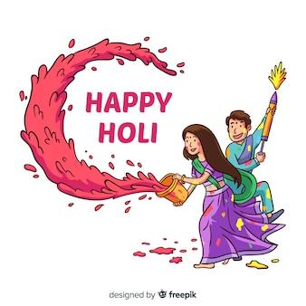 Hand gezeichneter paar holi festivalhintergrund