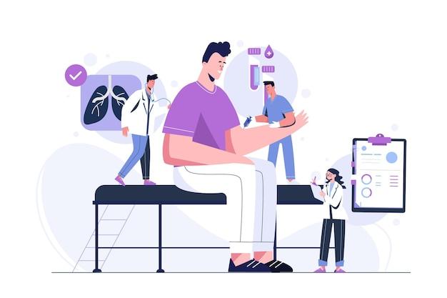 Hand gezeichneter patient, der eine medizinische untersuchung nimmt