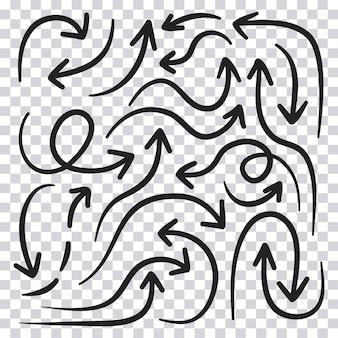 Hand gezeichneter pfeilsatz lokalisiert auf transparentem hintergrund. vektor-illustration.