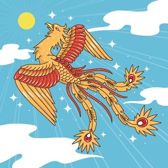 Hand gezeichneter phönix im himmel mit sonne