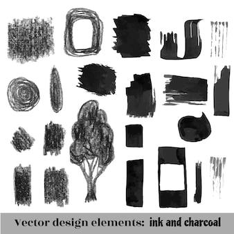 Hand gezeichneter pinsel grunge hintergrundsatz. tinte und kohle. vektor-illustration
