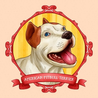 Hand gezeichneter pitbull illustriert