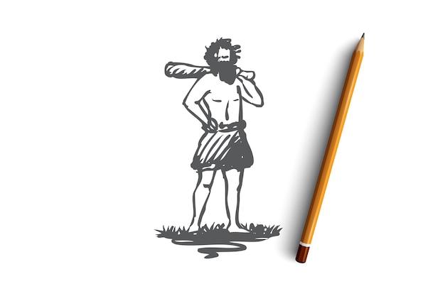 Hand gezeichneter primitiver mann mit schlagstockkonzeptskizze