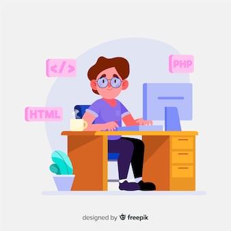 Hand gezeichneter programmierer bei der arbeit