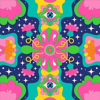 Hand gezeichneter psychedelischer grooviger hintergrund