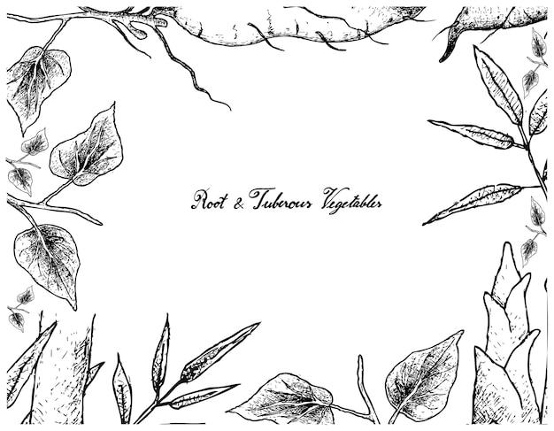 Hand gezeichneter rahmen der süßkartoffel und des bambusschosses