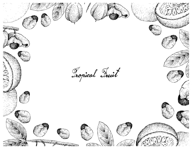 Hand gezeichneter rahmen von ackee und von passionsfrucht