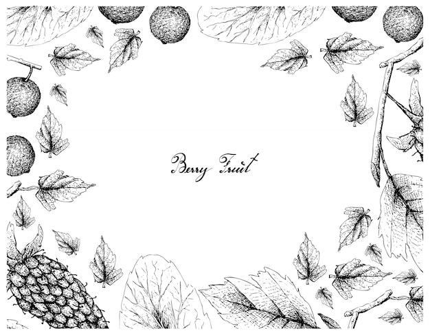 Hand gezeichneter rahmen von loganberries und madagaskar-pflaumen