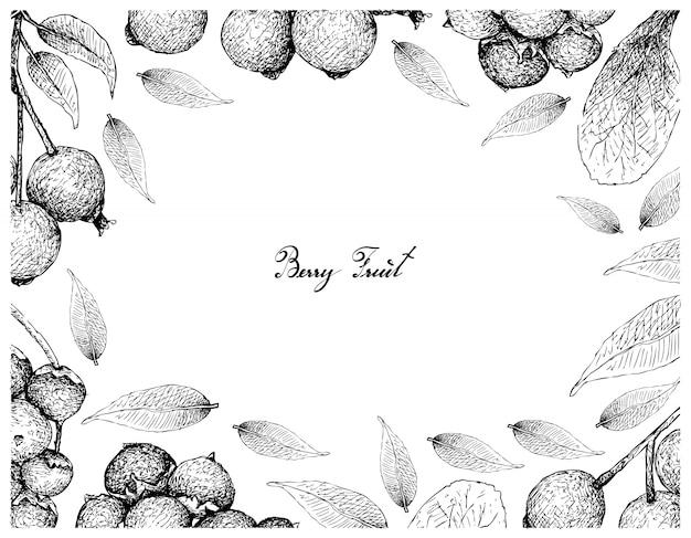 Hand gezeichneter rahmen von magentaroten kirschen und von manjackfrüchten