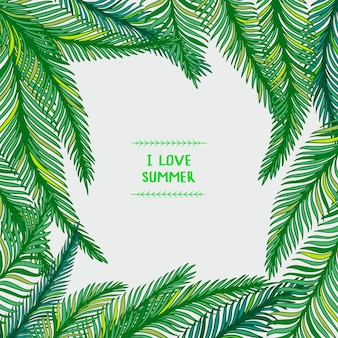 Hand gezeichneter rahmen von palmblättern auf weißem hintergrund. tropische illustration.