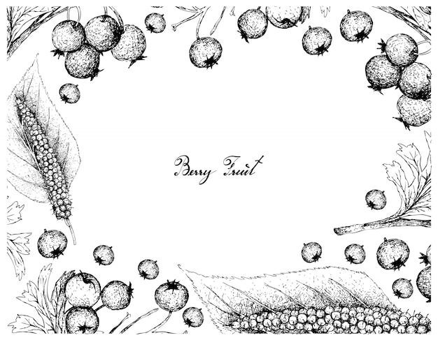 Hand gezeichneter rahmen von weißdornbeeren und himalajamulbeeren
