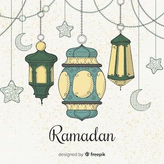 Hand gezeichneter ramadan-hintergrund