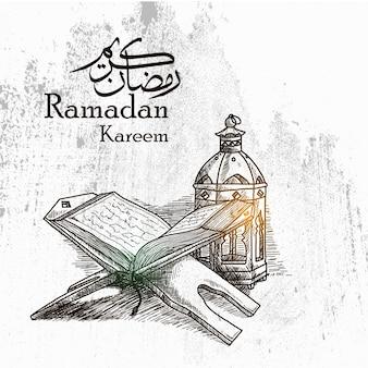Hand gezeichneter ramadan kareem background mit traditioneller laterne und al quran