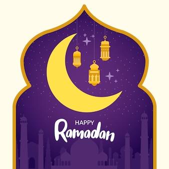 Hand gezeichneter ramadanhintergrund mit mond und kerzen
