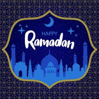 Hand gezeichneter ramadanhintergrund mit moschee