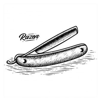 Hand gezeichneter rasiermesser-friseur