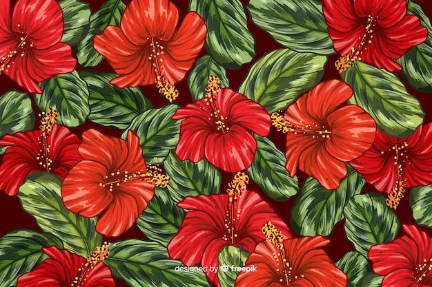 Hand gezeichneter realistischer hintergrund der tropischen pflanzen