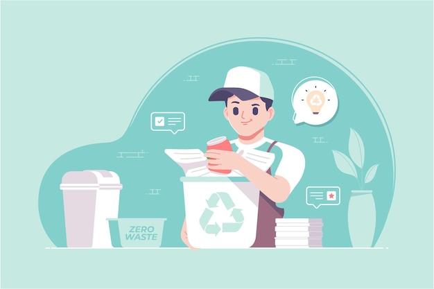 Hand gezeichneter recyclingkonzeptillustrationshintergrund